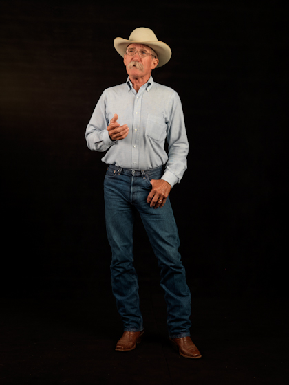 Cowboy poet Joel Nelson is known throughout the West for his delivery of the classic oral repertoire. His own poems, such as *The Breaker in the Pen*, are widely acclaimed. Bethesda, Maryland, 2009, photograph by Alan Govenar
