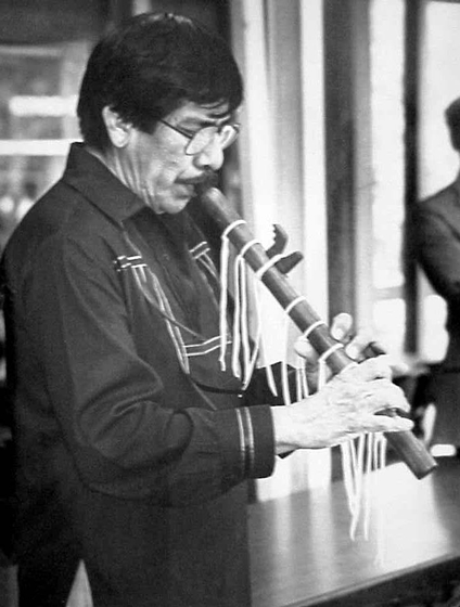 Doc Tate Nevaquaya was a leader of the Comanche people and helped to bring national attention to the traditional courting flute. He popularized the old repertoire and developed new compositional styles. Photograph by Paul Bearce, Courtesy National Endowment for the Arts