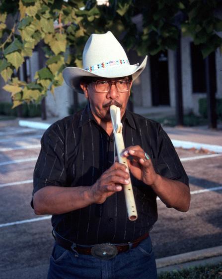 Doc Tate Nevaquaya, Dallas, Texas, 1991, Photograph by Alan Govenar