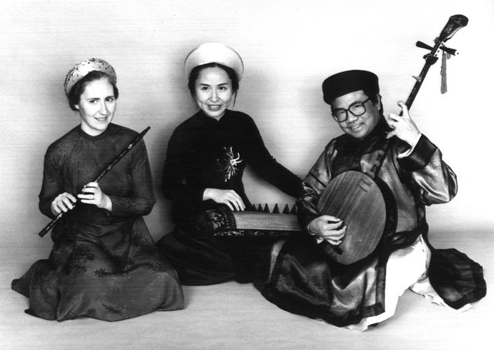 The Phong Nguyen Ensemble, from left: Sara Miller (*sao* flute), Tuyen Tonnu (*dan tranh* zither) and Phong Nguyen (*dan nguyet* lute), courtesy Phong Nguyen