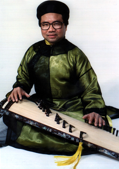 Phong Nguyen plays many Vietnamese instruments but often focuses in performance on the *dan tranh*, a seventeen-string zither pictured here. He left Vietnam in 1974 but has returned often to do ethnomusicological research. Courtesy Phong Nguyen