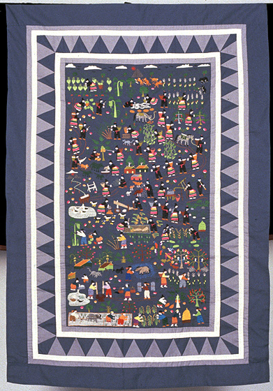 "Story cloth by Yang Fang Nhu, embroidery on cotton, 25"" x 43"", Detroit, Michigan,  1978, courtesy Museum of International Folk Art (a unit of the Museum of New Mexico)"