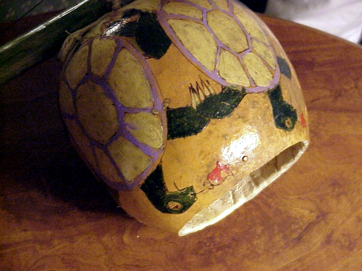 The *cabaca* (gourd) of a *berimbau*, hand-crafted by João Oliveira dos Santos (Mestre João Grande), hand-painted by one of his students, Arlington, Virginia, 2001,  photograph by Alan Govenar