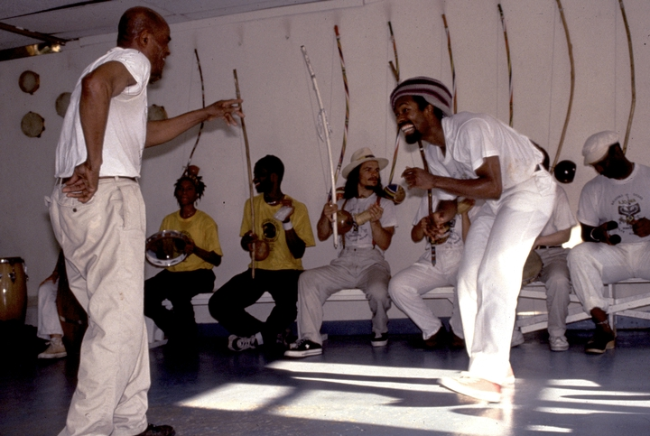 João Oliveira dos Santos (Mestre João Grande) teaching one of his classes at the Capoeira Angola Center, New York City, courtesy National Endowment for the Arts