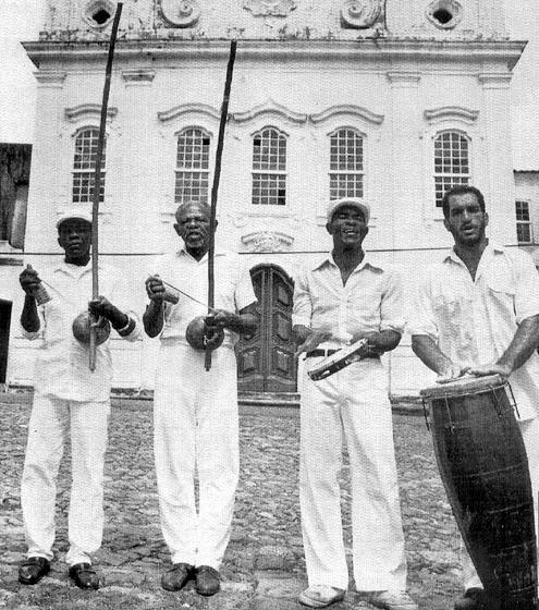 Handbill promoting *Capoeira Angola* — Mestre Jelon, featuring grand masters João Grande, Bõbo, João Pequeno, cCourtesy João Oliveira dos Santos (Mestre João Grande)