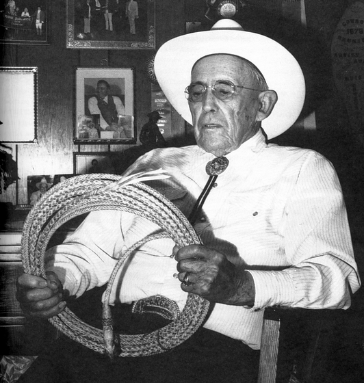 "Luis Ortega, a Hispanic American leather worker and saddle maker, gave up cowboying in 1932 to devote himself full time to rawhide work. He promised himself that he would ""get so high up in the rawhide game that nobody would ever catch up,"" and he succeeded. Photograph by Jill Scopinich. courtesy National Endowment for the Arts"