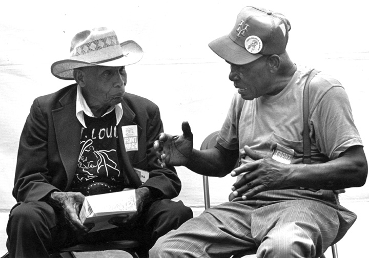 Jack Owens (left) and fife player Othar Turner, Chicago Blues Festival, Chicago, Illinois, 1991, photograph by Jack Vartoogian