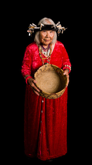 Julia Parker's Kashia Pomo baskets have been widely exhibited, and one she gave to Queen Elizabeth II now resides in the Queen's Museum in Windsor Castle. Bethesda, Maryland, 2007, photograph by Alan Govenar