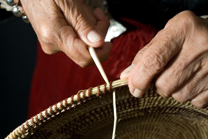 Julia Parker making a basket, Bethesda, Maryland, 2007, photograph by Alan Govenar