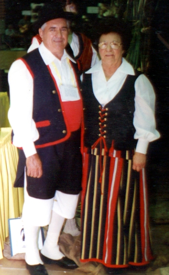 Irván Pérez and his wife, Louise, in Canary Island dance costumes, St. Bernard Parish, Louisiana, 1980