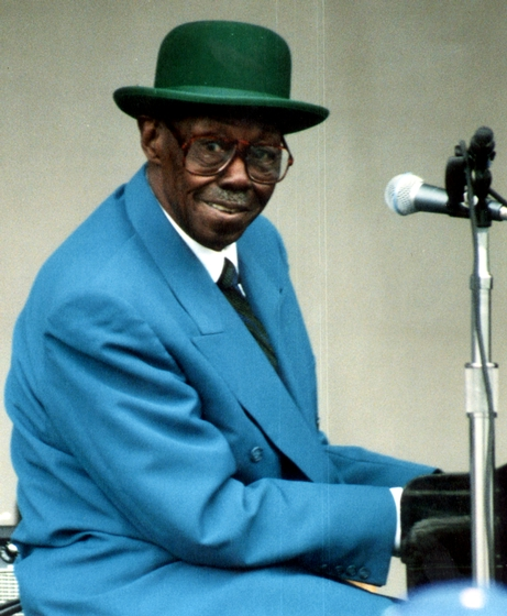 Blues pianist Joe Willie 'Pinetop' Perkins started his career by playing for dances, house parties and even chicken fights around his home in Belzoni, Mississippi. He later moved to Chicago and worked for twelve years in Muddy Waters' band. Courtesy National Endowment for the Arts