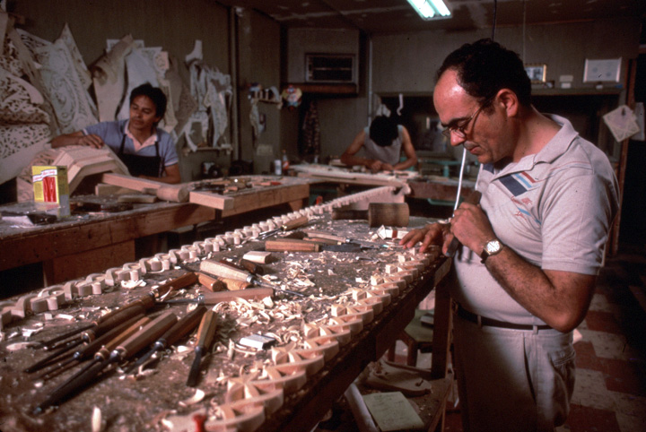 Konstantinos Pilarinos (right) in his workshop, Astoria, Queens, New York, courtesy National Endowment for the Arts