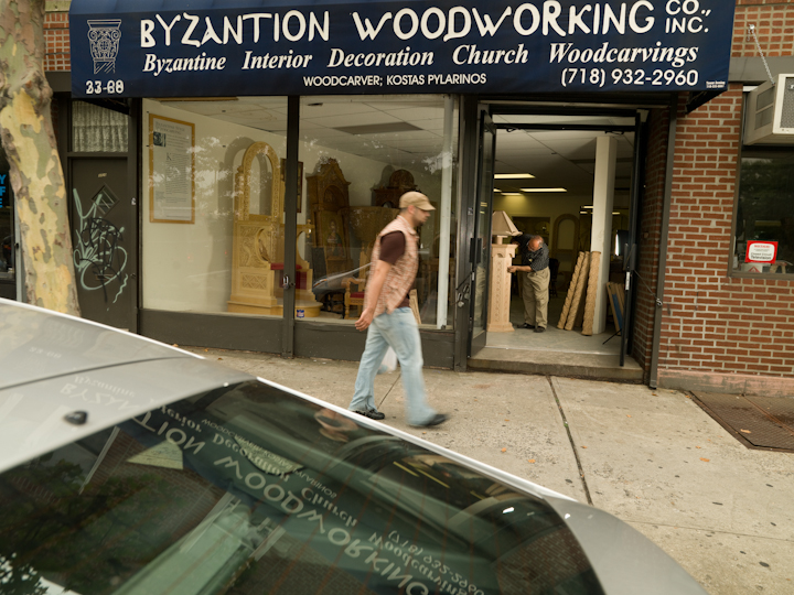 Konstantinos Pilarinos' Byzantion Woodworking Company, Astoria, Queens, New York, July 18, 2007, photograph by Alan Govenar