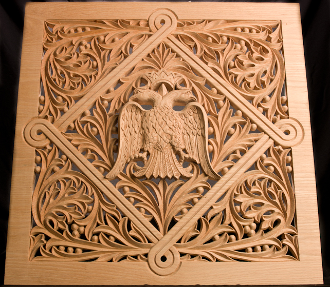 Konstantinos Pilarinos' hand-carved basswood panel for an icon screen, 2009, photograph by Alan Hatchett