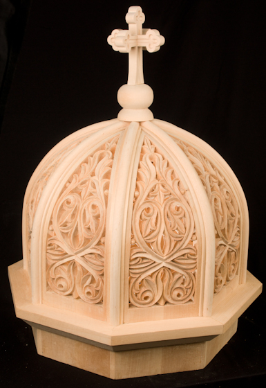 Konstantinos Pilarinos' wood-carved dome for a bishop's throne, 2009, photograph by Alan Hatchett