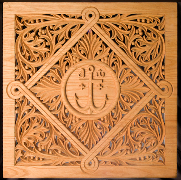 Konstantinos Pilarinos' hand-carved basswood  grapevine leaf pattern (detail) for an icon screen panel, 2009, photograph by Alan Hatchett