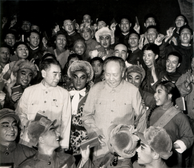 Chairman Mao and Chinese First Premier Zhou En Lai after watching Qi Shu Fang (right) in a performance of 'Taking Tiger Mountain,' 1968, courtesy Qi Shu Fang