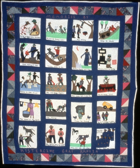 "Memory quilt by Hystercine Rankin, 1991. In 1990, Rankin said she was ""sitting at my house, working on a quilt, and I got to thinking of picking cotton and seeing a baby on a sack. And I said, well, you know, I'm going to do a quilt, a storytelling quilt, with memories of my past."" Photograph by Patricia Crosby, courtesy Mississippi Cultural Crossroads and National Endowment for the Arts"