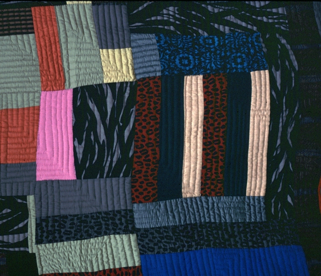 "African strip quilt (detail) by Hystercine Rankin, 1991: ""I joined different-sized blocks of African material sent to me by a friend in New York."" Photograph by Patricia Crosby, courtesy Mississippi Cultural Crossroads and National Endowment for the Arts"
