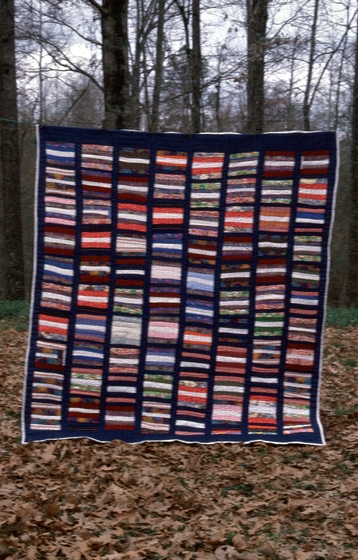 "String quilt by Hystercine Rankin, 1990. ""My grandmother, Alice January, taught me to make this quilt when I was 12 years old. She told me you could take almost anything and make something. She was speaking about the bits and pieces of all colors used in this quilt."" Photograph by Patricia Crosby, courtesy Mississippi Cultural Crossroads and National Endowment for the Arts"