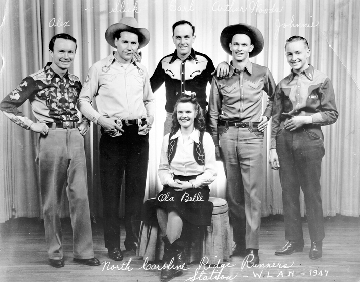 With Ola Belle Reed at radio station WLAN in 1947 are (from left to right) Alex, Slick, Earl, Arthur Woods, and Johnnie. Courtesy Maryland State Arts Council