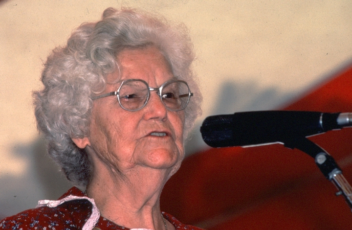 Almeda Riddle performing at the 1983 Festival of American Folklife in a program honoring the National Heritage Fellows, courtesy National Endowment for the Arts