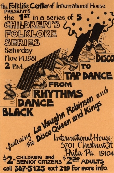 LaVaughn Robinson flier, November 14, 1981, courtesy Folklife Center, International House of Philadelphia