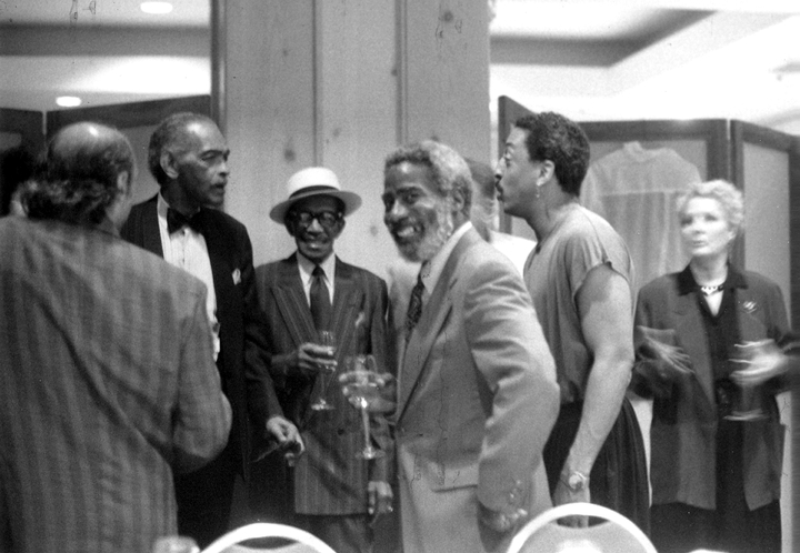 LaVaughn Robinson (with beard) flanked by (left) Honi Coles and Eddie Brown, (right) Gregory Hines, ca. early 1970s, courtesy LaVaughn Robinson