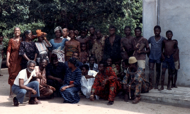 LaVaughn Robinson (kneeling, far left) in Lagos, Nigeria, 1984, courtesy LaVaughn Robinson