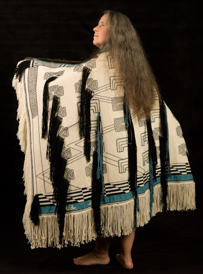 Tlingit weaver and basketmaker Teri Rofkar is known worldwide as a teacher and researcher and as a weaver of the once-lost art form of the Raven's Tail robe. Bethesda, Maryland, 2009, photograph by Alan Govenar