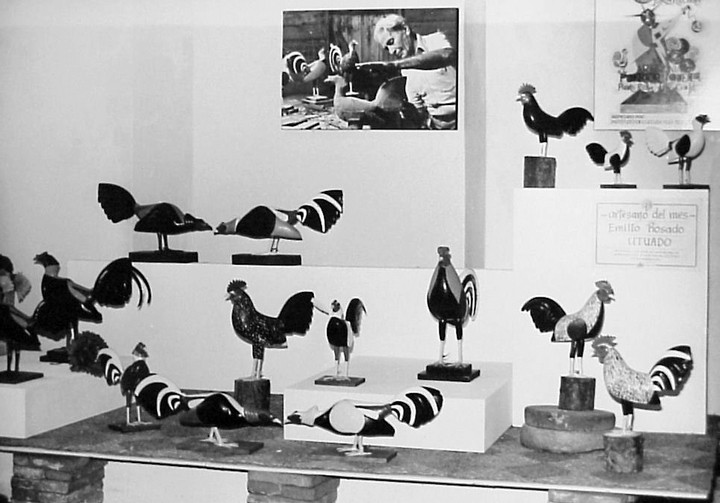 Exhibition of hand-carved roosters by Emilio Rosado, courtesy National Endowment for the Arts
