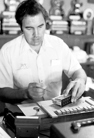 Marc Savoy at work, Eunice, Louisiana, 1975, photograph by Nicholas R. Spitzer