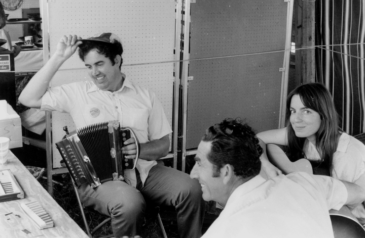 Marc and Ann Savoy with D.L. Menard, 1977, photograph by Chris Strachwitz/Arhoolie Records