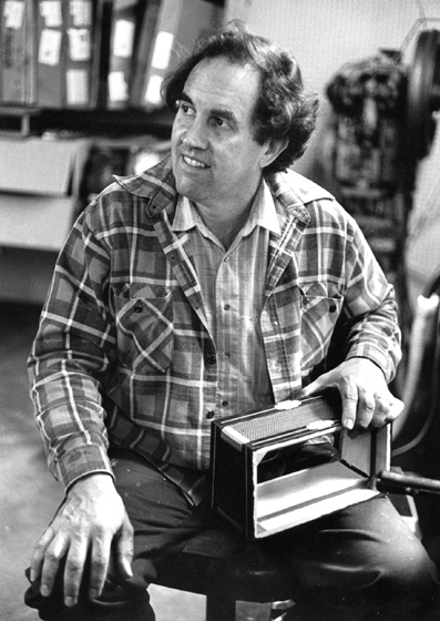 Marc Savoy in his shop, Eunice, Louisiana, 1989, photograph by Jack Vartoogian
