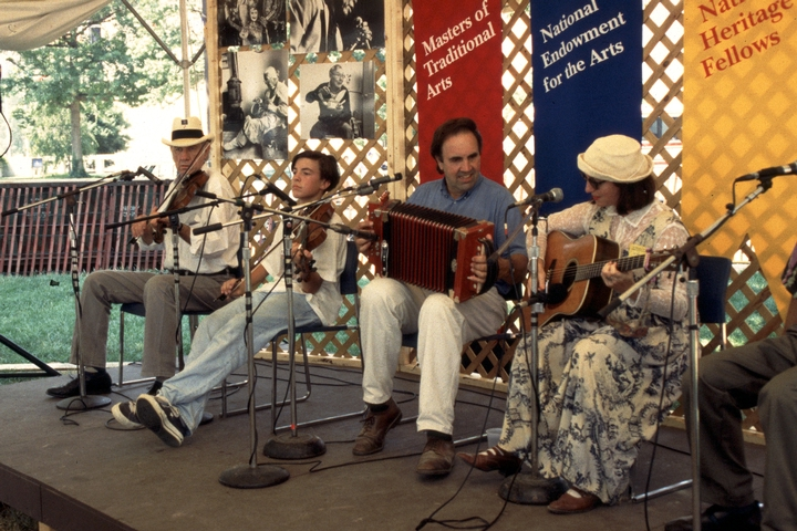 Marc and Ann Savoy performing at the 1994 Festival of American Folklife in a program honoring the National Heritage Fellows, courtesy Smithsonian Institution