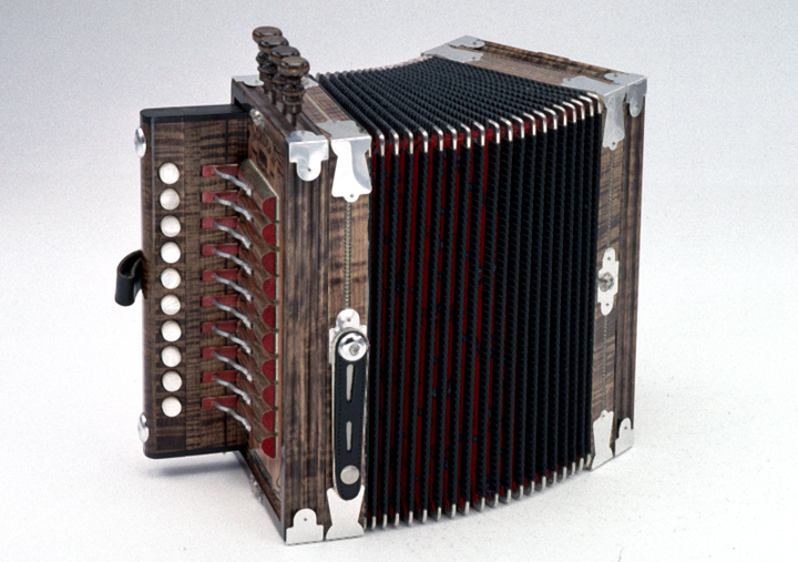 Accordion by Marc Savoy, photograph by Thomas A. Wintz, Jr., courtesy Louisiana Folklife Program