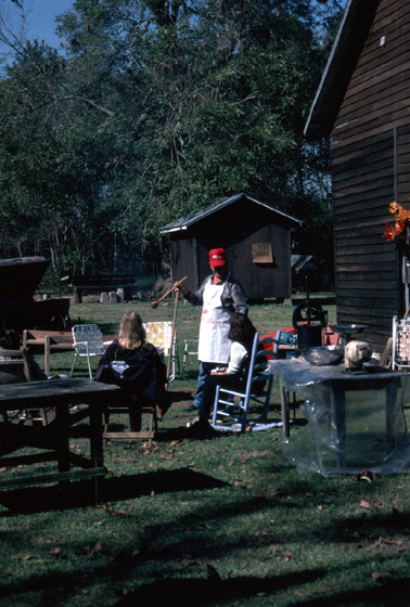 Cooking at the annual *boucherie* hosted by Marc and Ann Savoy, 1996, photograph by Alan Goveanr