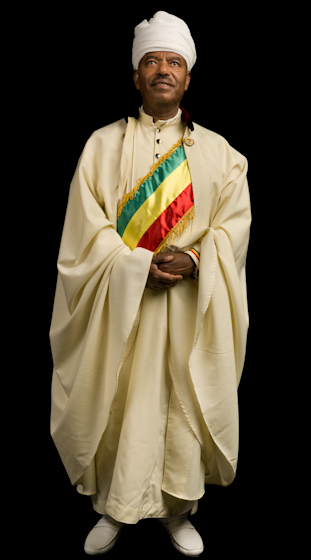 Moges Seyoum is an accomplished singer and an expert in Ethiopian Orthodox Christian chant, sacred dance and associated instrumental practices. In the Washington, D.C., area, his services have drawn more than 2,000 people. Bethesda, Maryland, photograph by Alan Govenar