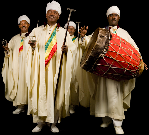 Moges Seyoum and Ethiopian liturgical singers from the Debre Salam Kidist Mariam Church, Bethesda, Maryland, photograph by Alan Govenar