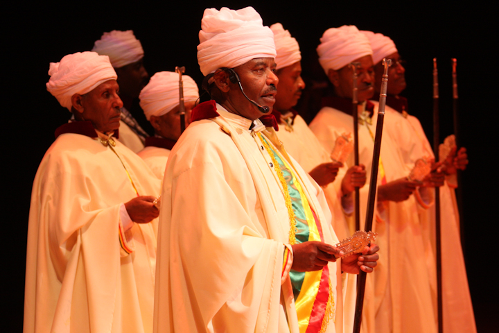 Moges Seyoum and Ethiopian liturgical singers from the Debre Salam Kidist Mariam Church, 2008 National Heritage Fellowship Concert, Bethesda, Maryland, photograph by Michael G. Stewart
