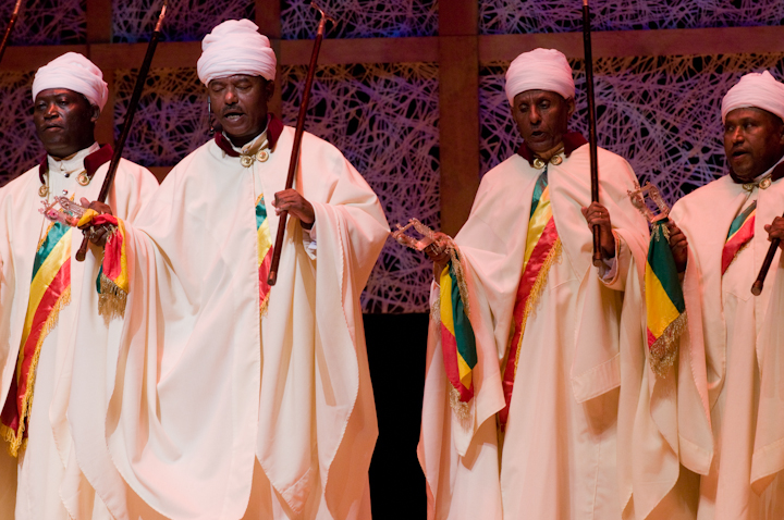 Moges Seyoum and Ethiopian liturgical singers from the Debre Salam Kidist Mariam Church, 2008 National Heritage Fellowship Concert, Bethesda, Maryland, photograph by Alan Hatchett