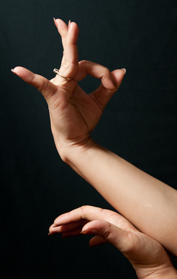 Traditional hand gesture of Sophiline Cheam Shapiro, Bethesda, Maryland, 2009, photograph by Alan Govenar