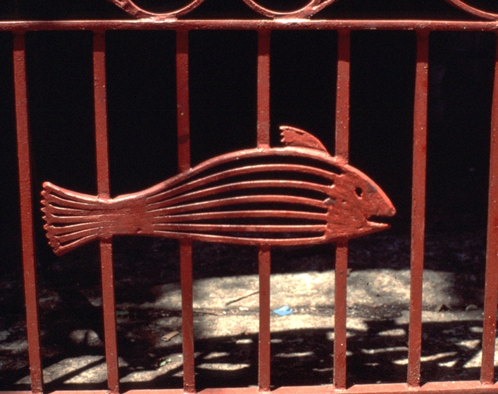 """Philip Simmons, detail of """"Star and Fish Gate,"""" Smithsonian Collection, photograph by John Vlach"""