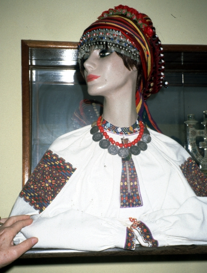 A mannequin displays one of the headpieces and blouses that Eudokia Sorochaniuk made. She made most of the costumes worn by members of the dance troupe Cheremosh Hutsul. Courtesy New Jersey State Council on the Arts