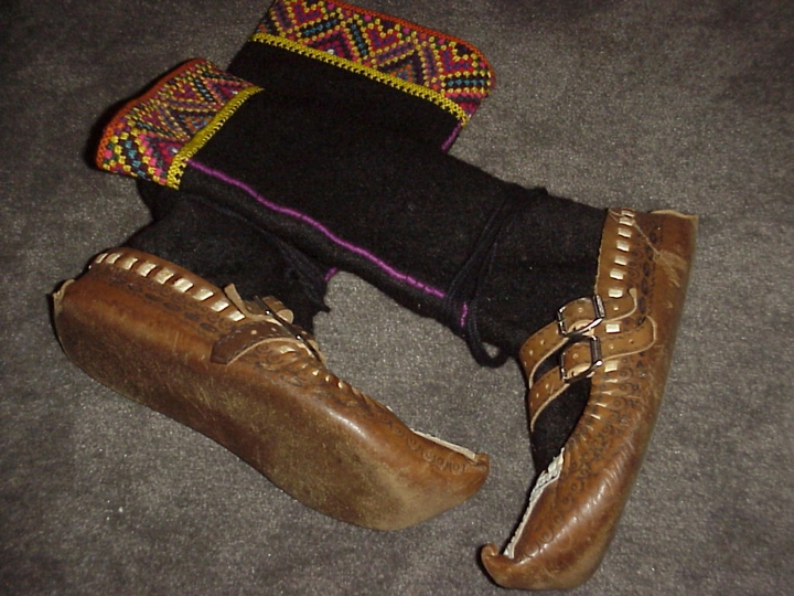 A pair of traditional shoes that Dmytro Sorochaniuk made for dancers in the Ceremosh Hutsul troupe