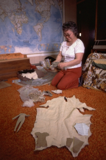 Dolly Spencer working on one of her Inupiat dolls, courtesy National Endowment for the Arts