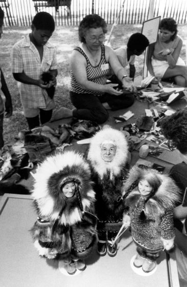 Dolly Spencer demonstrates the making of Inupiat dolls. Photograph by Dane Penland, courtesy Ralph Rinzler Folklife Archives and Collections, Center for Folklife and Cultural Heritage, Smithsonian Institution