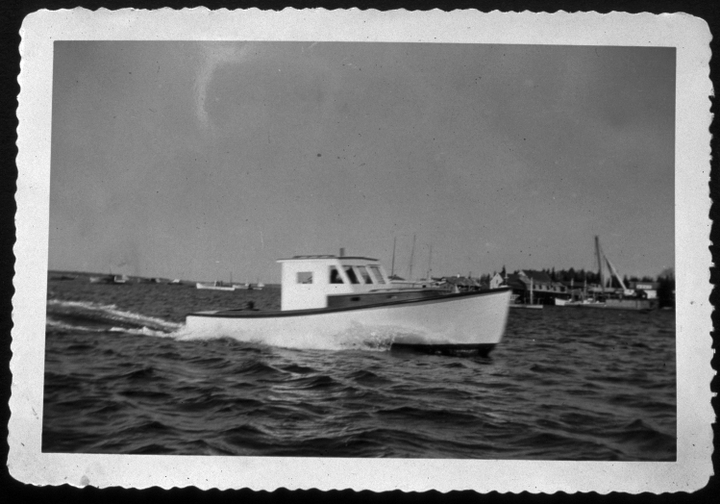 One of the first boats built by Ralph W. Stanley, a 28-foot lobster boat built for a local fisherman, ca. 1956, courtesy Ralph W. Stanley