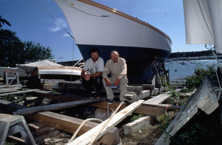 Ralph W. Stanley and his son Richard with the soon-to-be-launched Friendship sloop 'Acadia', Southwest Harbor, Maine, 1998, photograph by Peggy McKenna, courtesy National Endowment for the Arts