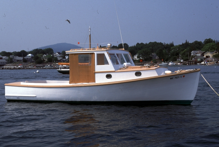"The 29-foot pleasure boat (""lobster yacht"") 'Pegotty' built by Ralph W. Stanley, Southwest Harbor, Maine, 1998, photograph by Peggy McKenna, courtesy National Endowment for the Arts"